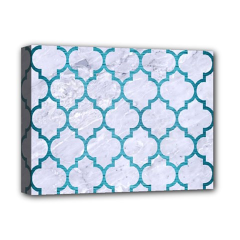 Tile1 White Marble & Teal Brushed Metal (r) Deluxe Canvas 16  X 12   by trendistuff