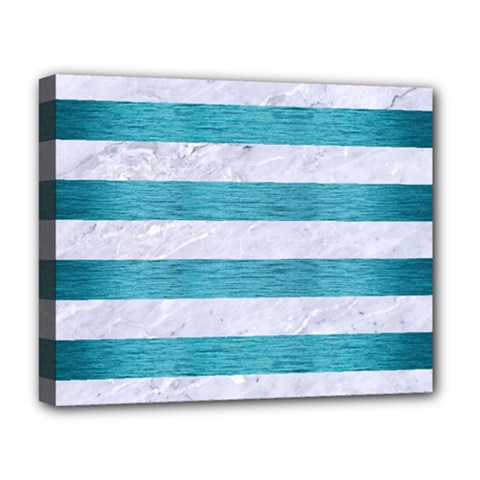 Stripes2white Marble & Teal Brushed Metal Deluxe Canvas 20  X 16   by trendistuff