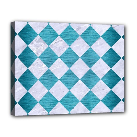 Square2 White Marble & Teal Brushed Metal Canvas 14  X 11  by trendistuff