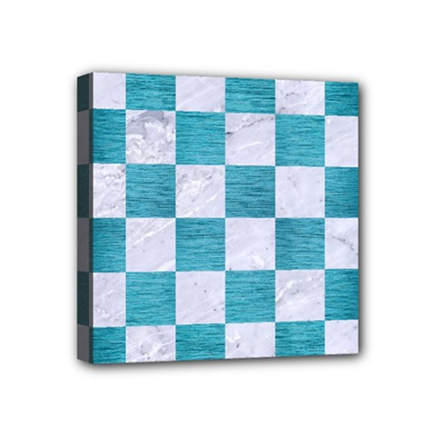 Square1 White Marble & Teal Brushed Metal Mini Canvas 4  X 4  by trendistuff