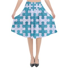 Puzzle1 White Marble & Teal Brushed Metal Flared Midi Skirt