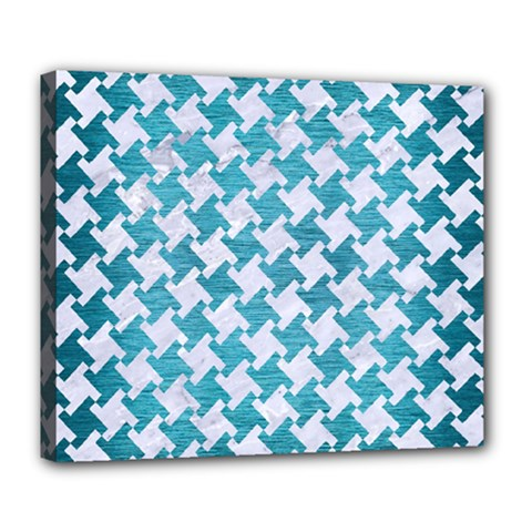 Houndstooth2 White Marble & Teal Brushed Metal Deluxe Canvas 24  X 20   by trendistuff