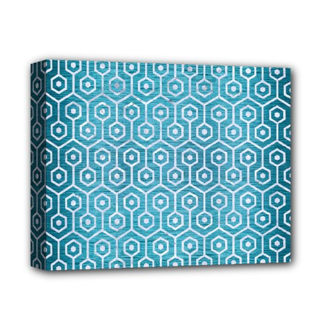 Hexagon1 White Marble & Teal Brushed Metal Deluxe Canvas 14  X 11  by trendistuff