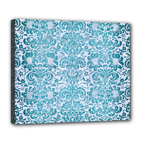 Damask2 White Marble & Teal Brushed Metal (r) Deluxe Canvas 24  X 20   by trendistuff