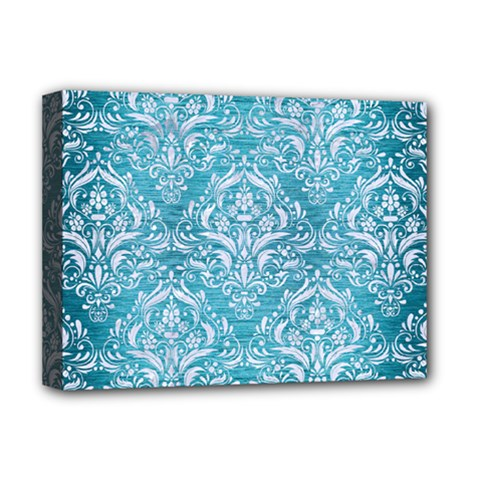 Damask1 White Marble & Teal Brushed Metal Deluxe Canvas 16  X 12   by trendistuff