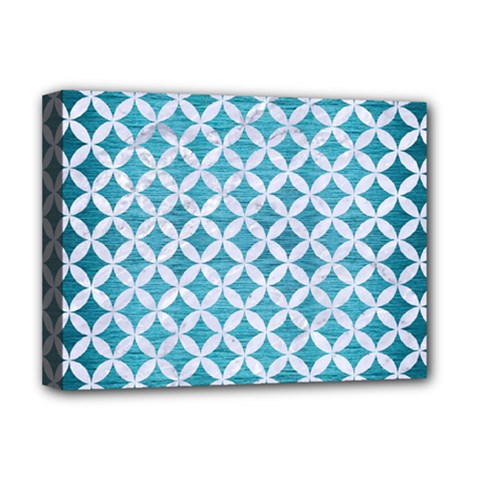 Circles3 White Marble & Teal Brushed Metal Deluxe Canvas 16  X 12   by trendistuff