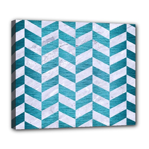 Chevron1 White Marble & Teal Brushed Metal Deluxe Canvas 24  X 20   by trendistuff