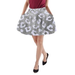 Skin5 White Marble & Silver Paint (r) A Line Pocket Skirt by trendistuff