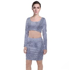 Hexagon1 White Marble & Silver Paint Long Sleeve Crop Top & Bodycon Skirt Set