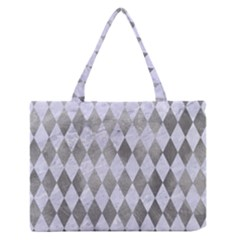 Diamond1 White Marble & Silver Paint Zipper Medium Tote Bag by trendistuff