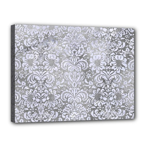 Damask2 White Marble & Silver Paint Canvas 16  X 12  by trendistuff