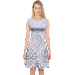 Damask1 White Marble & Silver Paint (r) Capsleeve Midi Dress