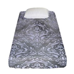 Damask1 White Marble & Silver Paint Fitted Sheet (single Size) by trendistuff