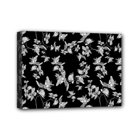 Dark Orquideas Floral Pattern Print Mini Canvas 7  X 5  by dflcprints