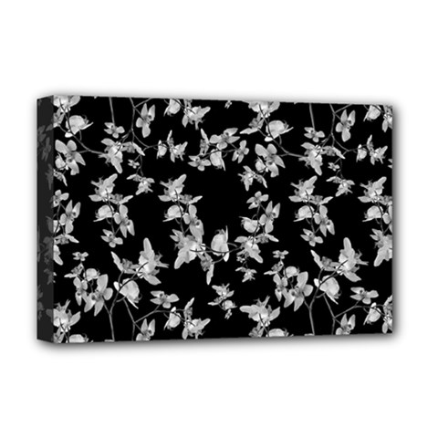Dark Orquideas Floral Pattern Print Deluxe Canvas 18  X 12   by dflcprints
