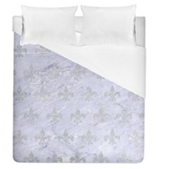 Royal1 White Marble & Silver Glitter Duvet Cover (queen Size) by trendistuff