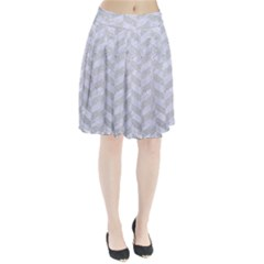 Chevron1 White Marble & Silver Glitter Pleated Skirt by trendistuff