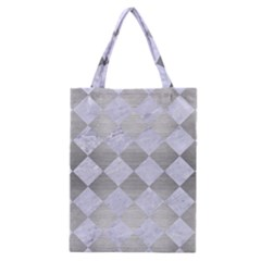 Square2 White Marble & Silver Brushed Metal Classic Tote Bag by trendistuff