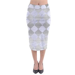 Square2 White Marble & Silver Brushed Metal Midi Pencil Skirt by trendistuff