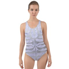 Skin2 White Marble & Silver Brushed Metal (r) Cut Out Back One Piece Swimsuit by trendistuff
