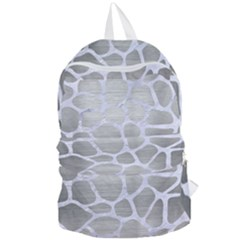 Skin1 White Marble & Silver Brushed Metal (r) Foldable Lightweight Backpack by trendistuff