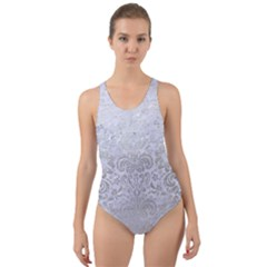 Damask2 White Marble & Silver Brushed Metal (r) Cut Out Back One Piece Swimsuit by trendistuff