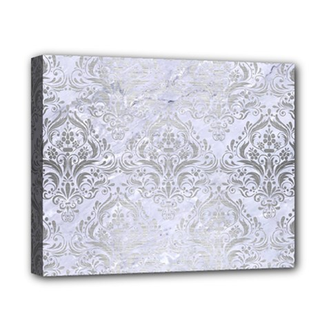 Damask1 White Marble & Silver Brushed Metal (r) Canvas 10  X 8  by trendistuff