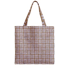 Woven1 White Marble & Sand Zipper Grocery Tote Bag by trendistuff