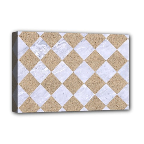 Square2 White Marble & Sand Deluxe Canvas 18  X 12   by trendistuff