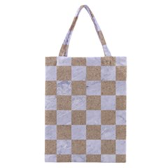 Square1 White Marble & Sand Classic Tote Bag by trendistuff