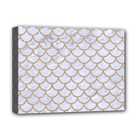 Scales1 White Marble & Sand (r) Deluxe Canvas 16  X 12   by trendistuff