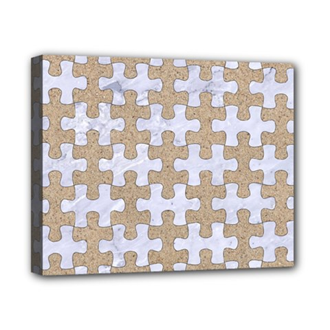 Puzzle1 White Marble & Sand Canvas 10  X 8  by trendistuff