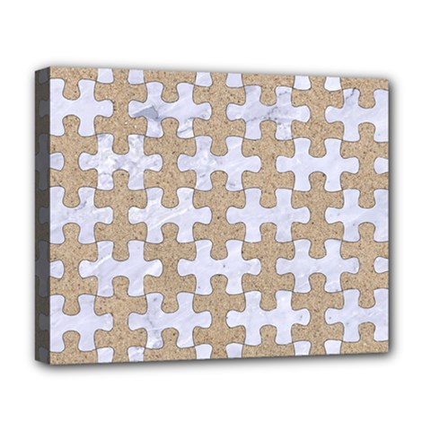 Puzzle1 White Marble & Sand Deluxe Canvas 20  X 16   by trendistuff