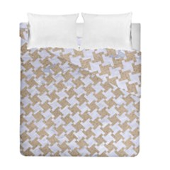 Houndstooth2 White Marble & Sand Duvet Cover Double Side (full/ Double Size) by trendistuff