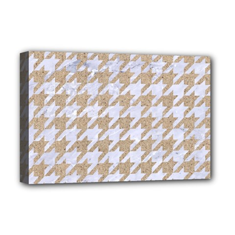 Houndstooth1 White Marble & Sand Deluxe Canvas 18  X 12   by trendistuff
