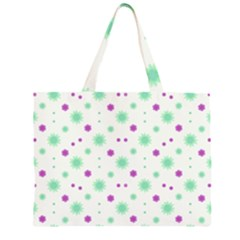 Stars Motif Multicolored Pattern Print Zipper Large Tote Bag by dflcprints