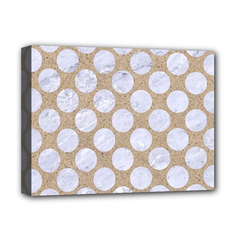 Circles2 White Marble & Sand Deluxe Canvas 16  X 12   by trendistuff