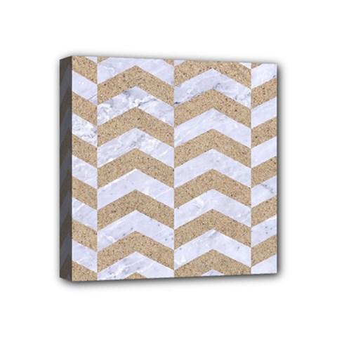 Chevron2 White Marble & Sand Mini Canvas 4  X 4  by trendistuff
