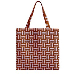 Woven1 White Marble & Rusted Metal Zipper Grocery Tote Bag by trendistuff