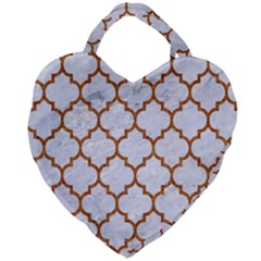 Tile1 White Marble & Rusted Metal (r) Giant Heart Shaped Tote by trendistuff
