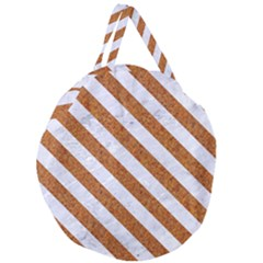 Stripes3 White Marble & Rusted Metal Giant Round Zipper Tote by trendistuff
