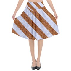 Stripes3 White Marble & Rusted Metal Flared Midi Skirt