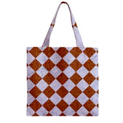 Square2 White Marble & Rusted Metal Zipper Grocery Tote Bag by trendistuff