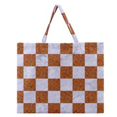 Square1 White Marble & Rusted Metal Zipper Large Tote Bag by trendistuff
