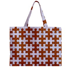 Puzzle1 White Marble & Rusted Metal Zipper Mini Tote Bag by trendistuff