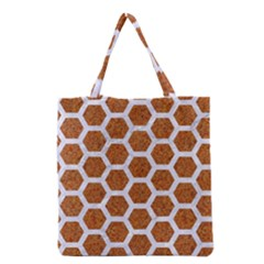 Hexagon2 White Marble & Rusted Metal Grocery Tote Bag by trendistuff
