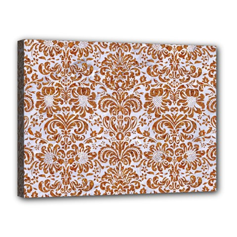 Damask2 White Marble & Rusted Metal (r) Canvas 16  X 12  by trendistuff