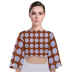 Circles1 White Marble & Rusted Metal Tie Back Butterfly Sleeve Chiffon Top by trendistuff
