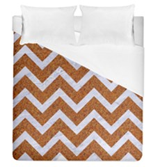 Chevron9 White Marble & Rusted Metal Duvet Cover (queen Size) by trendistuff