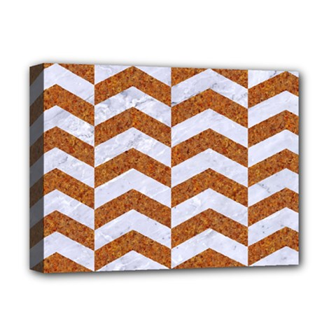 Chevron2 White Marble & Rusted Metal Deluxe Canvas 16  X 12   by trendistuff
